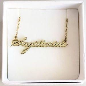 Sagittarius horoscope gold script necklace